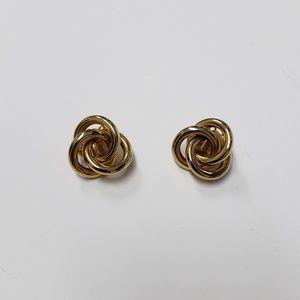 Womens Three Ring Gold tone clip on earrings